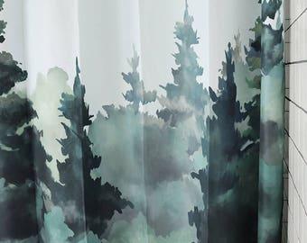 "Wood forest Shower Curtain bathroom decor panels 71X79"""