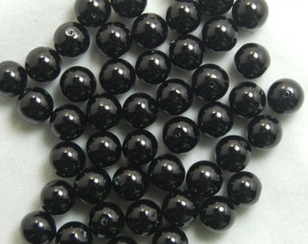 Black 8mm glass beads loose black beads 20 beads