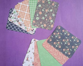 """Set of 10 """"floral"""" journaling cards (handmade Project Life cards)"""