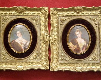 Two Beautifully Ornate Cameo Creation Framed Portraits of Exquisite Edwardian Ladies - 1930s