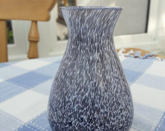 Caithness Glass Rondo Vase, Lilac Grey Speckle- 4 1/2 Inches Tall