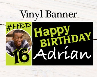 Happy Birthday Boys Banner ~ Personalized Party Banners Boys 16th Birthday Banner -#HBD Banner, Printed Vinyl Banner, Photo Banner