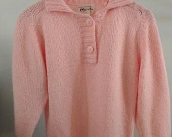 Vintage 80's/ Pink 2 Button Mock Neck Knit Sweater