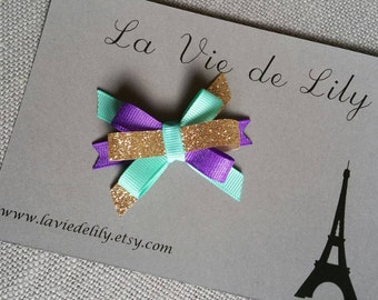 Aqua Purple Gold Bow, Glitter Sparkle Itty Bitty bow, 1st birthday, Baby bow, Mermaid Tea Party, Carousel, half birthday Princess Donut clip
