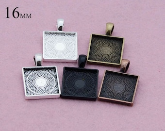 25 Pieces 16mm Square Pendant Setting, 16mm Glass Tray, Square Bezel Pendant Blank 5 colors Available