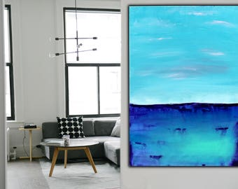 Blue Abstract Painting on Canvas  , 32x24 Inch , Original Modern, Wall Art ,Acrylic Abstract ,