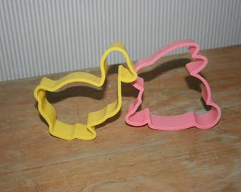Easter Cookie Cutters Set of 2 , A Yellow Duck and A  Pink Bunny,  Easter Baking , Easter Cookies