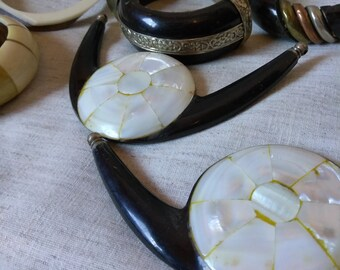 Broken and wearable Bone, horn, Ivory, mother of pearl jewelry lot. Mid-Century handmade in India