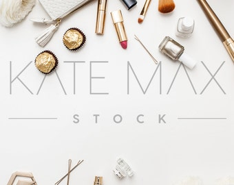 Gold Lifestyle Styled Image w/ Jewelry & Makeup / Styled Stock Photography / Business Branding Image / KateMaxStock High Res File #1050