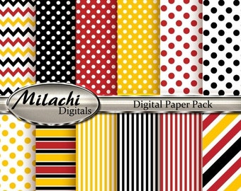 60% OFF SALE Mickey Mouse Digital Paper, Polka Dots, Stripes, Chevron, Yellow, Red, Black - M37