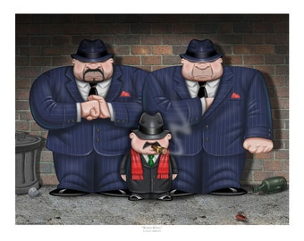 """GODFATHER Art PRINT of Humorous Gangster Painting-Bada Bing-Signed Titled Giclée Mobster Fine Art Print 11""""x 14"""" Wall decor by Fian Arroyo"""