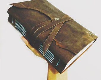 A5 leather bound journal, personalized leather sketchbook, notebook, rustic brown leather blue stitching, monogram optional, birthday gift