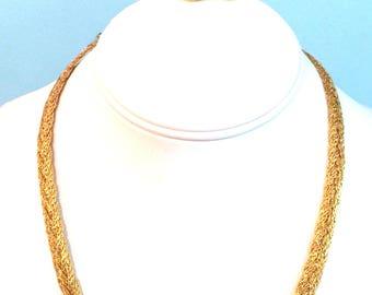 "Vintage Gold Tone Monet Necklace 19"" & Round Gold Tone Monet Clip Earrings  Monet Jewelry Set Designer Signed Vintage Necklace and Earrings"