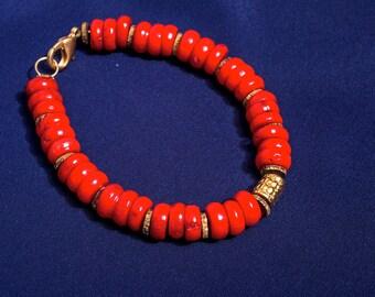 coral bracelet, red bracelet, gemstone bracelet, beaded bracelet