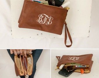 Monogrammed Crossbody Clutch | Faux Leather Clutch | Ladies' Crossbody | Monogram Clutch | Monogram Wristlet Wallet | Monroe