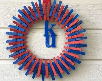 "KU wreath, 14"" KU college wreath, Kansas University, KU wreath, college gifts, graduation gift, front door decoration, dorm room gift"