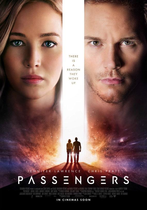"Passengers 2016 Movie, Passangers 2016 Film, Art Deco, Movie Art, Scifi, Jennifer Lawrence Chris Pratt Poster Size 13x20"" 24x36"" 32x48"" #2"