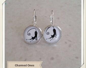 Black cat dangle earrings