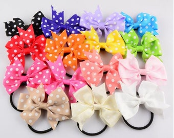 Fashion Girl Hair Tie, Ribbon Bowknot Hair Tie , Dot Bow Hair Tie -- YTC11