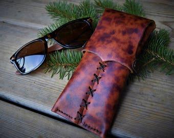 Brown vintage leather sunglasses case eyeglasses pouch