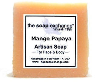 Mango Papaya Bar Soap, Natural Handmade Soap, Cold Process Soap, Artisan Soap, Olive Oil, Shea Butter, Soap Bar, The Soap Exchange