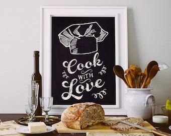 Cook with love Chalkboard Kitchen Poster Kitchen Art Cooking Poster cooking art Instant Download Printable A4 A3 8×10 & 11x14 Wall HQ300dpi