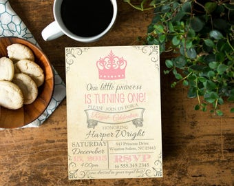 Our Little Princess Birthday Invite, Princess Vintage Paper Invite, DIY Printable, Pink Crown Invite, Listing # 806