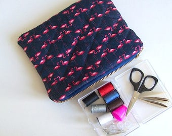 Sewing travel kit blue mini sewing bag quilted sewing bag flamingo sewing bag