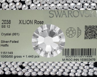 144pcs Swarovski Elements Xilion Rose HotFix #2038, ss12 clear Crystal, Foiled with Iron-on Glue. 12ss, 3mm Flatback Rhinestones