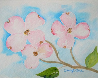 Pink Dogwood Watercolor Notecard