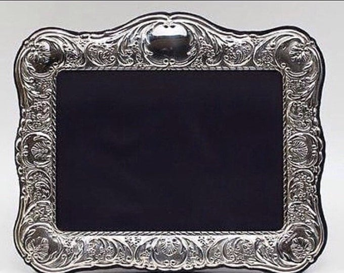 Storewide 25% Off SALE Vintage English Sheffield A.N. Silversmith Scrolling Seashell Repousse Sterling Silver Photo Frame Featuring Ornate V