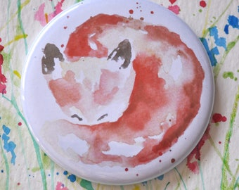 Watercolor Pocket Mirror, Fox Watercolor Mirror, Small Mirror Watercolor Animal, Gift for Her, Wedding Favour, Party Favour, Bridesmaid Gift