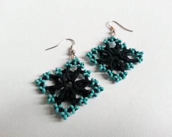 Lightweight Tatted Lace Earrings Black with Turquoise Beads – Shuttle Tatting Lacy Earrings - Frivolite – Gift for her – Under 10