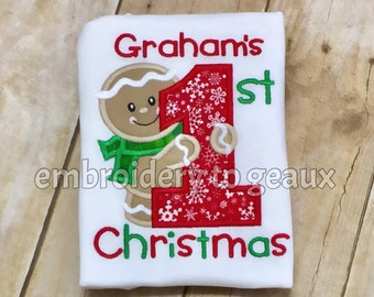 Baby's First Christmas Bodysuit, Baby's First Christmas Outfit, Christmas Outfit for Baby, Gingerbread Boy Bodysuit, Baby Christmas Outfit