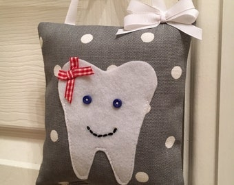 Grey & White Spotty Tooth Fairy Pillow