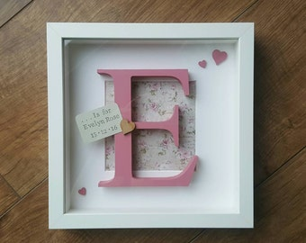 Nursery / Christening Initial baby box frame wooden letter