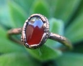 ON SALE | Red Jade | Jade Ring | Copper Ring Women | Size 6 | Electroformed Ring | Ready-To-Ship
