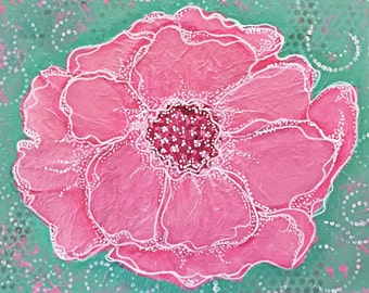 The Big Pink Flower Giclee Print 10x10 Mixed Media