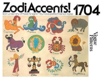 Vintage 70s Vogue ZodiAccents 1704 Het Set Transfers for Zodiac Appliques with Embroidery Trim Apply by Hand or Zig Zag Stitch