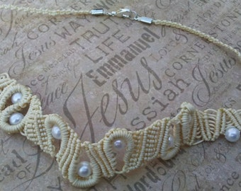 pearl macrame necklace