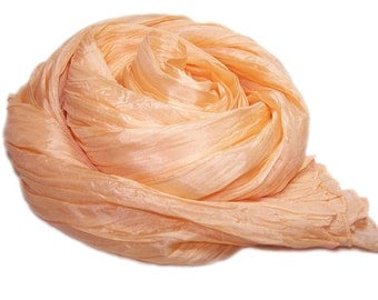 Hand dyed silk scarf - 4 sizes - crinkle scarf - TANGERINE