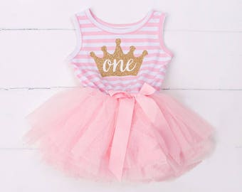 Pink and Gold First Birthday Outfit, Princess Dress with Crown, First Birthday Outfit Girl. Princess Tutu Skirt, 1st Birthday Girl,