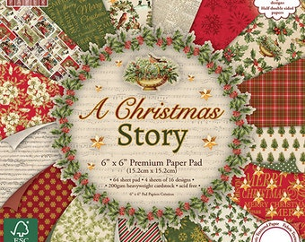 Scrapbook Paper - A Christmas Story 6x6 Paper Pad - 64 sheets Embossed Cardstock - Heavyweight Cardstock - Half Double Sided - Traditional