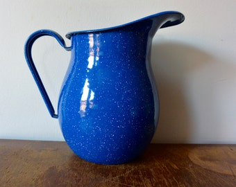 Speckled Blue Enamel Pitcher