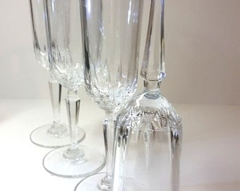 Set of 3 Crystal Ribbed Champagne, Sparkling Wine Flutes