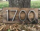 Address Plaque (Horizontal) Rustic Modern Wood & Metal   Personalized Box Number Sign Vertical 3D Mailbox Box House Number Planter