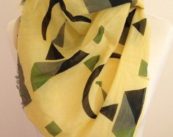 Geometric scarf - abstract scarf - colour blocks - spring summer scarf - yellow scarf - Kandinsky geometric pattern  scarf in 100% cotton