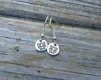 Tiny Lotus Earrings, Delicate Lotus Earrings, Yoga earrings, Yoga gifts,  Flower earrings, Flower girl earrings, Gifts for her