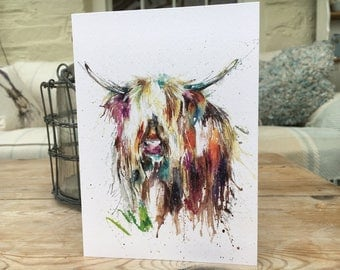 Nosey Highland Cow  Art blank Watercolour print card designed by artist Nicola Jane Rowles  . Watercolour animal prints