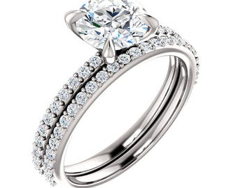 Any Color 14K Gold White Sapphire Bridal Set- Also Sold Separately